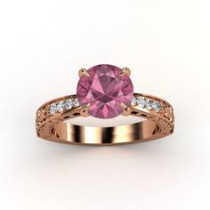 Round Pink Tourmaline 14K Rose Gold Ring with Diamond - lay_down