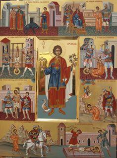 503-Αγ. Τρύφων & 8 σκηνές βίου Byzantine Icons, Byzantine Art, St Charbel, New Saints, Mama Mary, Best Icons, I Icon, Orthodox Icons, Religious Art
