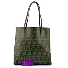 FENDI Tote Classic Print Canvas Good Condition  Ref.code-(GOCT-1) More Information Pls Email  (- luxuryvintagekl@ gmail.com )