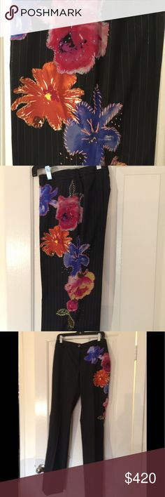 DOLCE AND GABBANA  CUSTOM TROUSERS DOLCE AND GABBANA CUSTOM HAND MADE BLACK WITH SMALL SILVER PINSTRIPES AND ON THE LEFT SIDE LEG ABSOLUTELY GORGEOUS COLORFUL FLOWERS. BOUGHT FASHION WEEK WAS THE RUNWAY HIT. Can Be Tailored and Excellent Like New Condition Dolce & Gabbana Pants Trousers