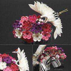 Japanese Hair Comb KANZASHI Crane & Plum Hand Craft Kimono Maiko Geisha Japan