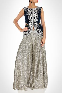 VELEVET CHOLI WITH SEQUIN SHARARA NEHA AGARWAL