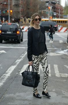 Tibi pants, jacket and fluffy knit - Pied à Terre loafers- Celine tote - Karen Walker shades [source: camilleovertherainbow]