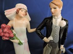 Bridal Wedding Themed Goebel Her Treasured Day 1925 and Waiting for His Love Figurines W Germany Retired Bride and Groom Figures Roaring Twenties, Rose Bouquet, Drapes Curtains, Vintage Items, Wedding Cakes, Waiting, Great Gifts, Groom, Germany