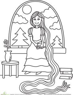 This fairy tale coloring sheet features a happy Rapunzel doing some reading while she waits on the prince to come save the day.