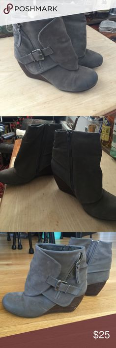 Grey suede leather Blowfish wedge booties Super cute wedge booties size 7 - grey colored suede leather - super comfy and versatile! Small nick in one heel but barely noticeable - please see picture. Worn only a few times! Blowfish Shoes Ankle Boots & Booties