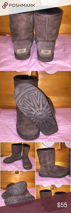 UGG Australia Brown Boots In great conditions. UGG Australia Brown 'short' boots. Well loved but still got a lot of life left. Very comfy and great for the winter. Size 7 but also comfortably fit size 8. Some loose thread on left boot. Scratch on front right boot. Please see pic for full details. UGG Shoes Winter & Rain Boots