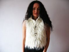 Ivory White Faux Fur Vest Reversible Curly Lamb Fur Cropped Vest Wooden Buttons Small