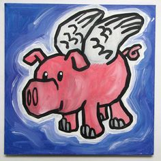 """Ali's Art Adventures: When Pigs Fly- """"...pigs are pretty heavy. i wonder how big their wings would have to be to actually work. maybe i should have made him a pilot."""""""