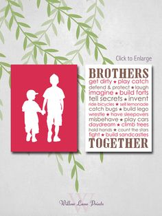custom brothers wall art - shared boys room wall art - big brother little brother silhouette - red and brown - boys room decor prints on Etsy, $30.00