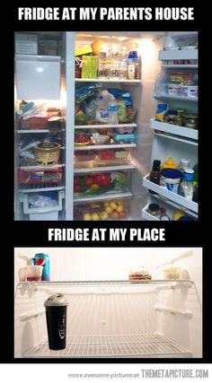 My parents' fridge vs mine…