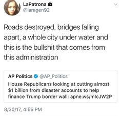 GOP considering cutting disaster relief to fund Trump's wall.