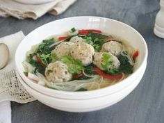 Chicken Noodle Soup with Coriander Chicken Balls