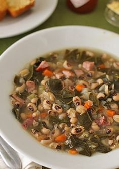 The Galley Gourmet: Black-Eyed Pea and Collard Green Soup; I can't believe that I've never made a black eyed pea soup for New Years!