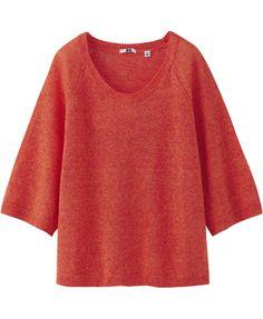red / premium linen round neck 3/4 sleeve sweater