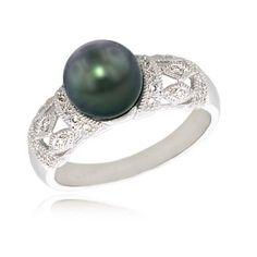 black pearl engagement ring