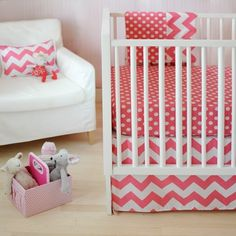 Zig Zag Baby Bedding in Hot Pink- matched perfectly with the Navy Zig Zag for a boy/girl #twin nursery!  $166