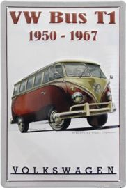 VW Bus T1 1950-1967 Metalen wandbord in reliëf 20 x 30 cm.