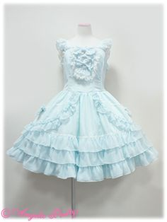 """Angelic Pretty """"Romantic Note"""" JSK in Mint. Love all the ruffles. Solid color but lots of pretty detailing."""