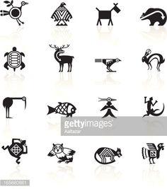 Vector Art   Black Symbols - Indian Tribal Animals Indian Symbols af73177dd