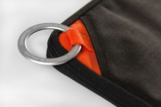 Textile, fabric, orange, laptop, bag, stitched, detail, handle, loop