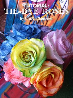 She Slices The Stem Of A White Rose. The Reason? Brilliant! DIY Tie Dyed Roses (using white roses) So beautiful and elegant. Very easy. Excellent instructions!! #diy #tiedyed #tiedyedroses  #easy #roses