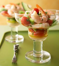 This marinated shrimp appetizer can be served in cocktail glasses for a party presentation. It's ready in 25 minutes, but tastes best when chilled before serving.
