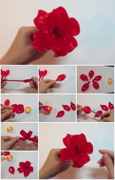 31 Incredible Plastic Spoon Craft Projects For Fun Plastic Spoon Crafts, Plastic Bottle Flowers, Plastic Bottle Crafts, Plastic Spoons, Plastic Bottles, Plastic Art, Plastic Jewelry, Faux Flowers, Diy Flowers