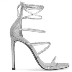 Stuart Weitzman Galaxy embellished glittered mesh sandals (£410) ❤ liked on Polyvore featuring shoes, sandals, heels, silver, high heel sandals, mesh sandals, strap sandals, embellished sandals and heeled sandals