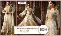 White and Gold Embroidered Anarkali Lehenga  It is never a dull moment when you twirl in this white and gold #EmbroideredAnarkaliLehenga. #IndianFashion #Lashkaraa #Fashion  Shop At: https://www.lashkaraa.com/white-and-gold-embroidered-anarkali-5516.html