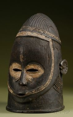 Africa | Helmet mask from the Igala people of Nigeria | Wood with kaolin