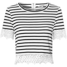 White And Black Striped Crop Top With Floral Lace Trim ($31) ❤ liked on Polyvore featuring tops, shirts, t-shirts, white, short sleeve crop top, white tops, see through tops, white short sleeve top and sheer top