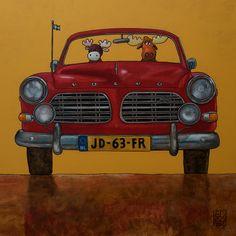 Ed van der Hoek by Edart Volvo Amazon, Automobile, Happy Black, Saab, Volvo Cars, Tier Fotos, Dog Art, Ford Mustang, Vintage Cars