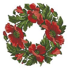 Red poppies vintage wreath digital pattern for cross von Smilylana
