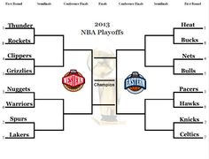 Here is the NBA playoff Bracket. My Predictions to come in subsequent posts.