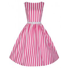Audrey Pink Stripe Swing Dress | Sweet as a stick of seaside rock and only £20.99 in the Lindy Bop sale :)