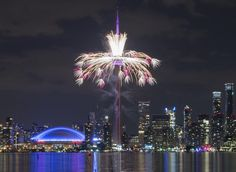 Fireworks shoot from the CN Tower during the opening ceremony for the 2015 Pan American Games in Toronto, July Moving To Toronto, Visit Toronto, Toronto Skyline, Seattle Skyline, Toronto Tourism, Toronto Cn Tower, American Games, Pan Am, O Canada