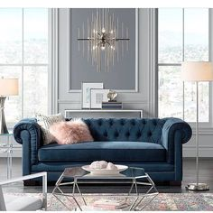 All about the blue sofa! Everything you see in this picture is from @lampsplus