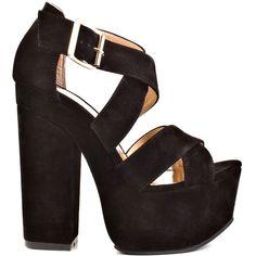 Luichiny Women's Van Buren - Black ($85) ❤ liked on Polyvore featuring shoes, sandals, heels, zapatos, high heels, black, black sandals, black strappy sandals, platform sandals and strappy high heel sandals