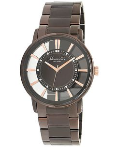 Kenneth Cole Mens Watch - Espresso Transparent Dial - Brown Case and Bracelet