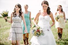 Country vintage style wedding.. love how  everyone is wearing a different color pattern but same style..