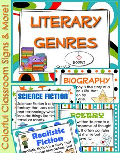 """Literary Genre posters with minis for notebooking and a """"Genre Journal"""". Cute & Colorful!"""