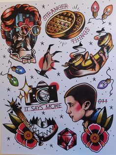 Stranger Things inspired tattoo flash sheet print