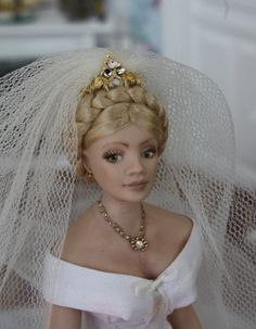 Handmade beautiful dollhouse porcelain bride doll