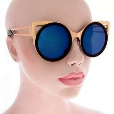 d24c95c6f8e Vintage Deadstock Cat Eye Blue Black Gold Round by FreestyleGreen Sunglasses  Women