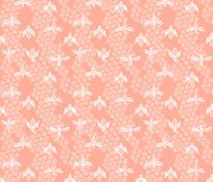 bees honeycomb - peach light linocut spring print fabric by andrea_lauren on Spoonflower - custom fabric