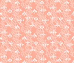 bees honeycomb - peach light linocut spring print fabric by andrea_lauren on Spoonflower - custom fabric