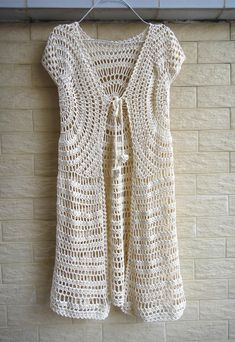 Tie Front Boho Crochet Long Cardigan by TinaCrochet2016 on Etsy