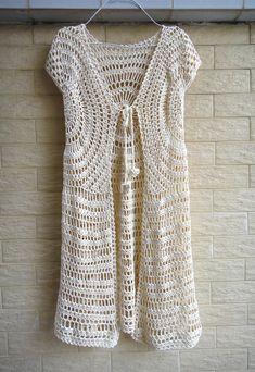 Tie Front Boho Crochet Long Cardigan by TinaCrochet2016 on Etsy