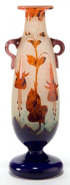 """A SCHNEIDER LE VERRE FRANCAIS GLASS FUSCHIAS VASE, Epinay-sur-Seine, France, circa 1924-1927. Engraved: Le Verre Francais. Height: 16 3/8"""" (41.5cm)"""